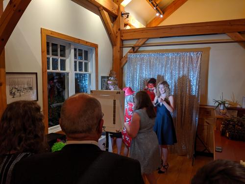Photo booth in use
